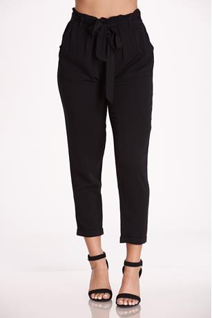 Twill Self-Tie Pants BLACK