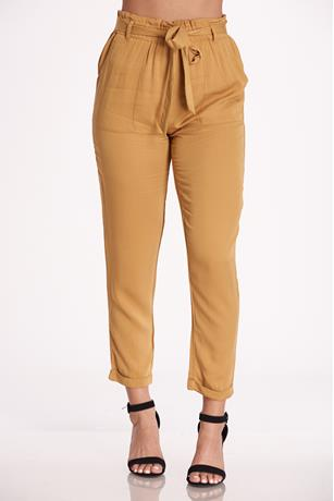 Twill Self-Tie Pants MUSTARD