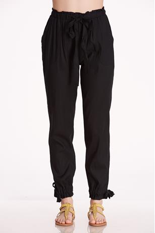 Bottom Tie Paper Bag Pants BLACK