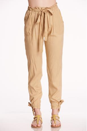 Bottom Tie Paper Bag Pants LIGHT BROWN