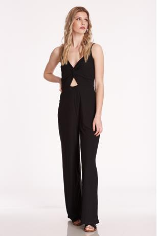 Twist-Front Cutout Jumpsuit BLACK