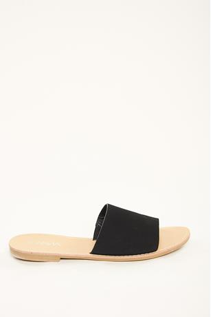 Faux Suede Slip On Sandals BLACK