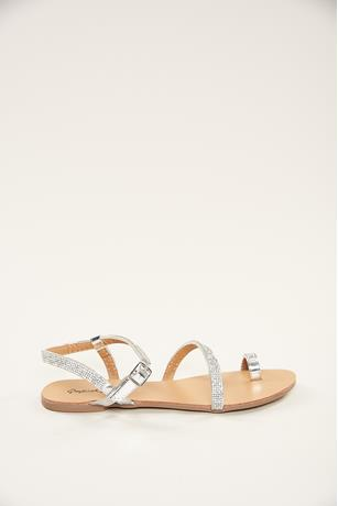 Toe Ring Rhinestone Sandals SILVER