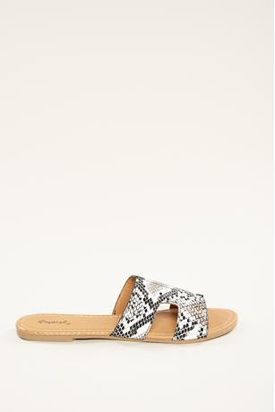 H Slip On Sandals  BLKWHT