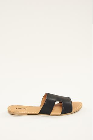 H Slip On Sandals  BLACK