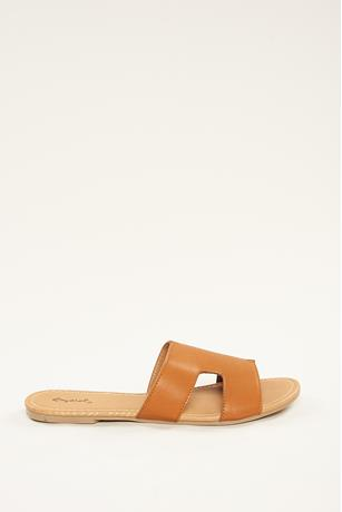H Slip On Sandals  COGNAC