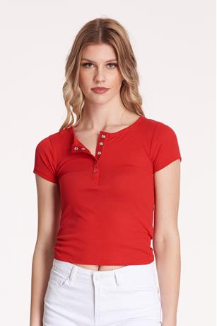 Ribbed Snap-Button Top  RED
