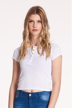 Ribbed Snap-Button Top WHITE