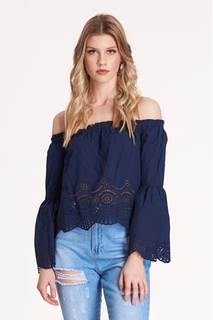 Embroidered Off the Shoulder Top NAVY