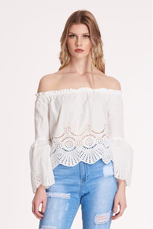 Embroidered Off the Shoulder Top WHITE