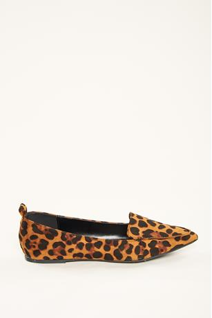 Faux Suede Oxfords LEOPARD