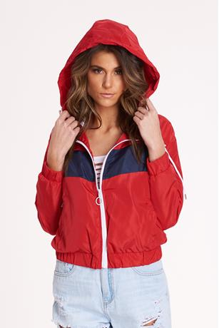 Colorblock Nylon Jacket RED