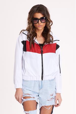 Colorblock Nylon Jacket WHITE
