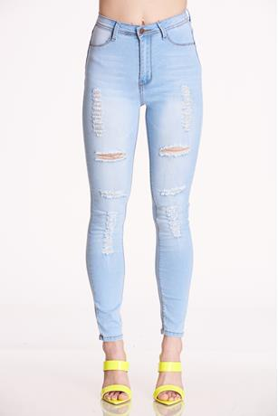 Rosee Fashion Distressed Jeans LIGHT WASH