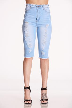 Rosee Fashion Ripped Bermuda LIGHT WASH
