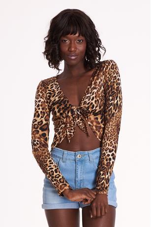 Leopard Tie-Front Crop Top