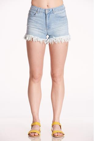 Fringe High Waist Shorts LIGHT WASH