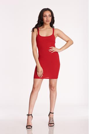Ribbed Tank Mini Dress RED