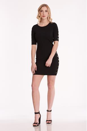 Tearaway Bodycon Dress BLACK