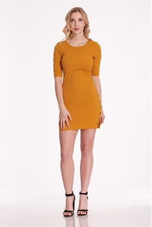 Tearaway Bodycon Dress MUSTARD