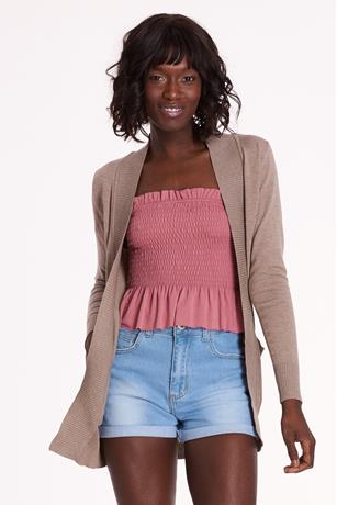 Open-Front Cardigan TAUPE