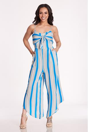 Printed Tie Front Jumpsuit
