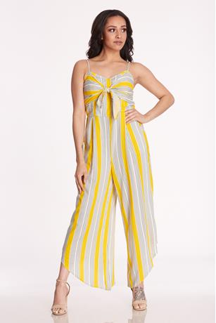 Printed Tie Front Jumpsuit YELLOW
