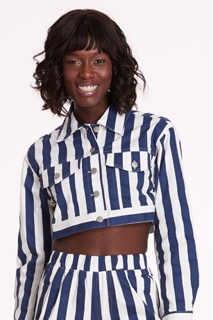 Striped Crop Jacket NAVY