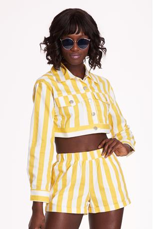 Stripe Crop Jacket YELLOW