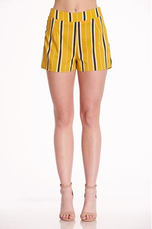 Striped High Rise Shorts MUSTARD