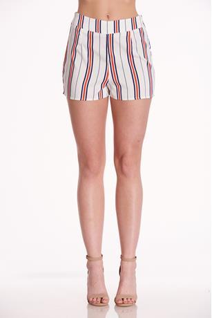 Striped High Rise Shorts WHITE