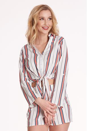 Tie-Front Stripe Top WHITE