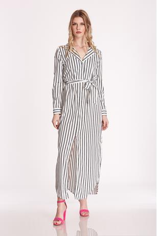 Stripe Slit Maxi Dress WHTBLK