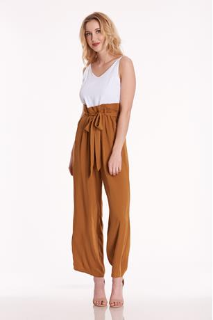 Paperbag Waist Jumpsuit BROWN