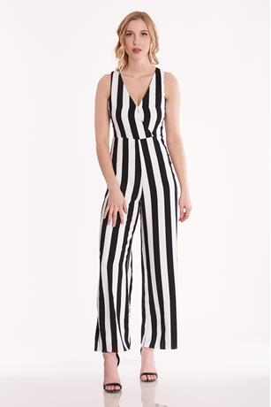 Striped Wide-Leg Jumpsuit BLKWHT