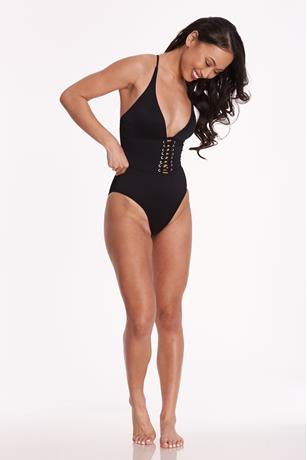 Black Ribbed Lace-Up Swimsuit