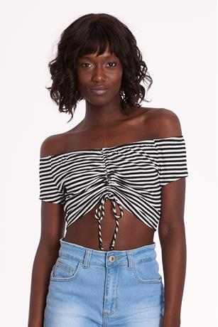 Striped Cinched Crop Top BLACK