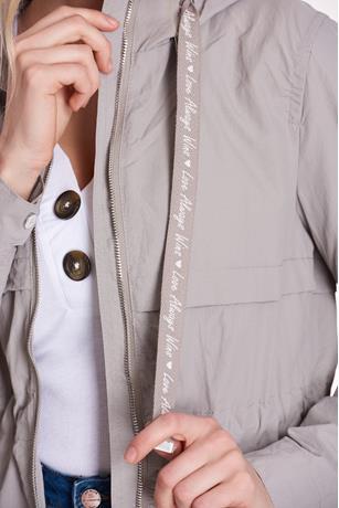 Drawstring Hooded Anorak Jacket  GRAY