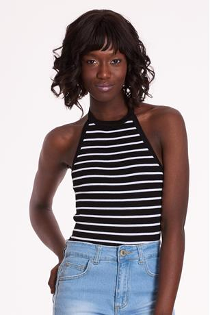 Ribbed Striped Halter Top BLKWHT
