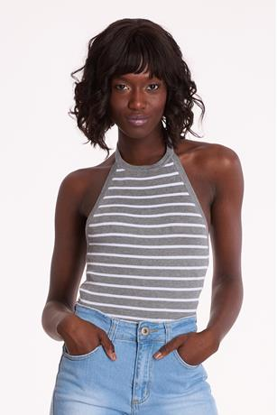 Ribbed Striped Halter Top GRAYWHITE