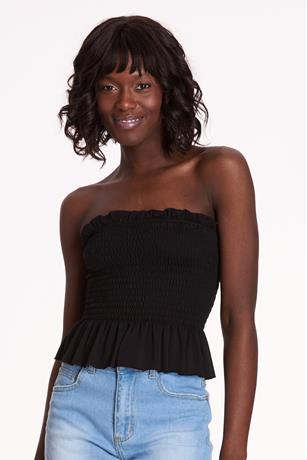 Solid Smock Tube Top BLACK
