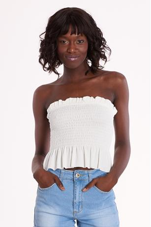 Solid Smock Tube Top WHITE
