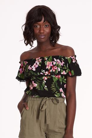 Floral Crop Top BLACK