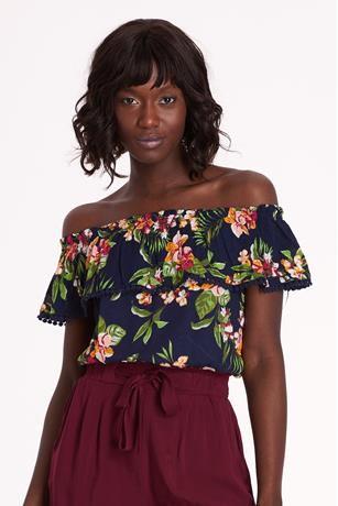 Floral Crop Top NAVY