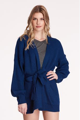 Self-Tie Knit Cardigan