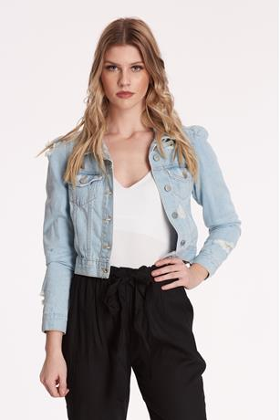 Distressed Denim Jacket  LIGHT WASH