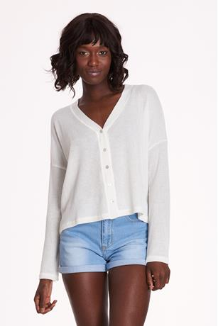 Button Up Crop Cardigan IVORY