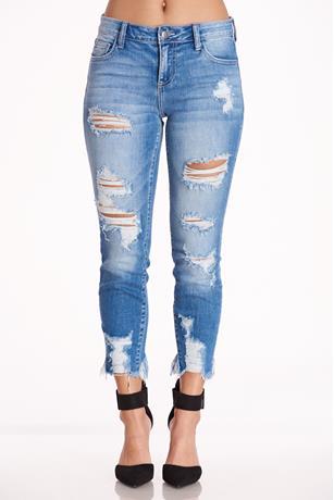 Frayed Hem Jeans MED WASH