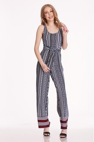 Print Self-tie Jumpsuit WHITE