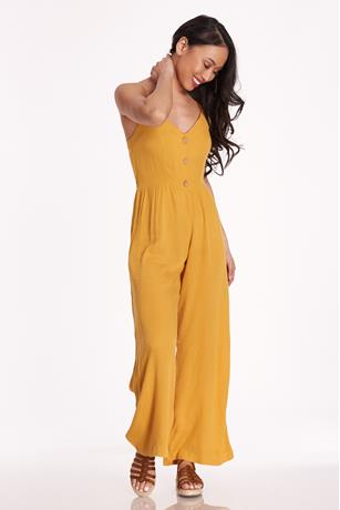 Cami Button Up Jumpsuit MUSTARD